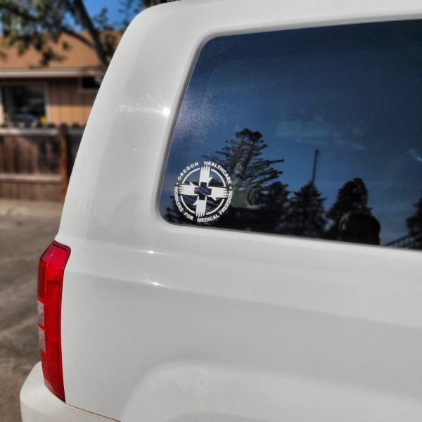White Cut Vinyl Sticker on Vehicle